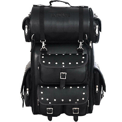 Faux Leather Heritage Custom Motorcyle Large Sissy Bar Bag /Roll Bag 19 X27 X10  • 72.99£