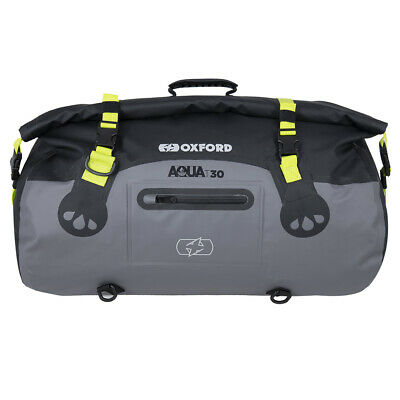 Oxford Aqua T30 Black/Grey/Fluo Waterproof Motorcycle Roll Bag Tail Pack OL461 • 46£