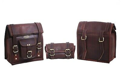 Motorcycle Bicycle Brown Leather Side Pouch Saddle Bags Panniers 3 Bag's Lot • 65.10£