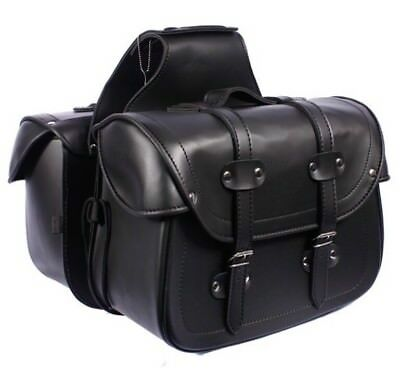 Saddle Bag SD48 LEGEND Black Cruiser Motorcycle Panniers Leather Look PU Biker • 69.95£