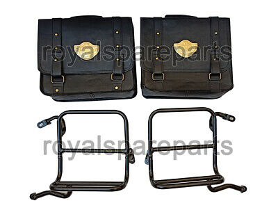 Royal Enfield Pair Of Saddle Bag Genuine Black Leather With Rails • 220£