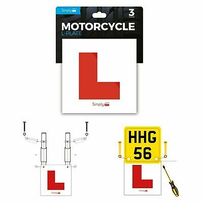 Simply 3 Pack Motorcycle Motorbike Scooter Learner L Plates Adhesive & Fittings • 8.90£
