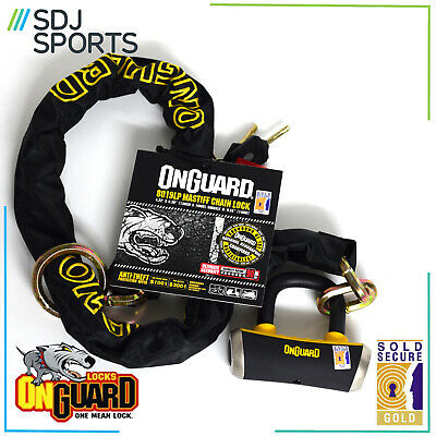 Onguard Mastiff 8019LP Chain Lock Heavy Duty Cycle Security Gold Sold Secure • 44.99£