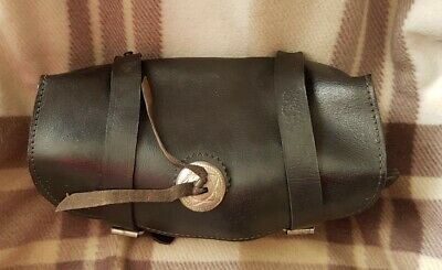 Vintage Leather Round Barrel Motorcycle Bag • 0.99£