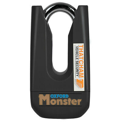 OXFORD Monster Black Disc Lock OF32M Ultra Strong Motorcycle Thatcham Padlock T • 74.99£
