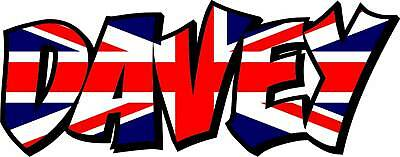 2x UNION JACK FLAG NAME DECALS / STICKERS GRAPHICS  - YOUR TEXT • 9.99£
