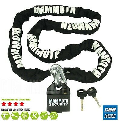 MAMMOTH MOTOCROSS MOTORCYCLE SCOOTER SECURITY PADLOCK LOCK AND & CHAIN 1.8m LONG • 28.99£