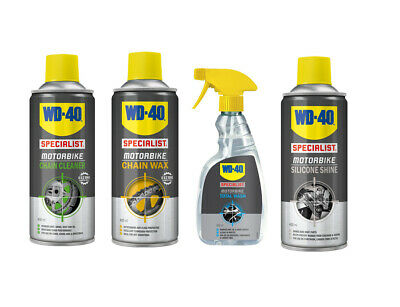 WD40 Specialist Motorcycle Cleaning Kit - Chain Cleaner - Wax - Wash - Silicone • 42.50£