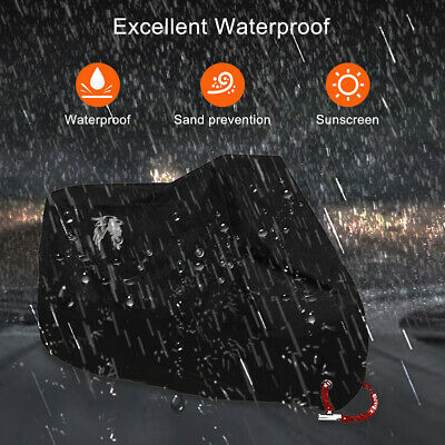 Heavy Duty Waterproof Motorcycle Cover Oxford Dustproof Motorbike Shelter Black • 14.24£