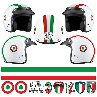 Set Italy Sticker Helmet Decal Motorcycle Scooter Stripes PVC Tuning • 12.94£