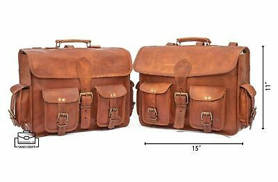 2 X Side Brown Leather Motorcycle Side Pouch Saddlebags Panniers 2 Bags JMB • 70£