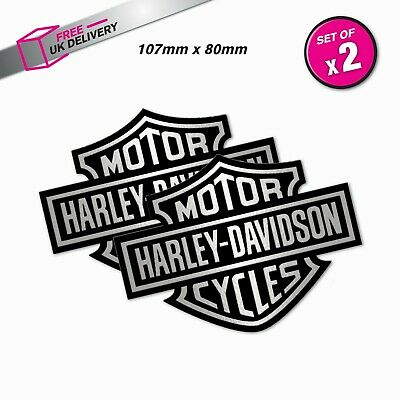 Harley Davidson Black & Silver Logo Vinyl Waterproof Outdoor Stickers X 2 • 3£