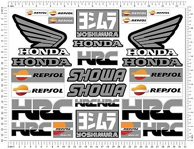 Honda Racing Motorcycle Decals Laminated Stickers Set CBR 600RR 1000RR Showa HRC • 9.99£