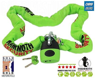 Mammoth Sold Secure Gold Approved Shackle Lock & Chain 1.8m Motocross Motorcycle • 69.99£