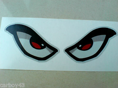 REFLECTIVE EVIL EYES Car Motorcycle Helmet Stickers Decals 1 Off Pair 90mm • 2.25£