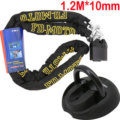 Motorbike Motorcycle CHAIN LOCK Scooter Padlock 1.2M Ground Anchor Black 4 Bolts • 31.99£