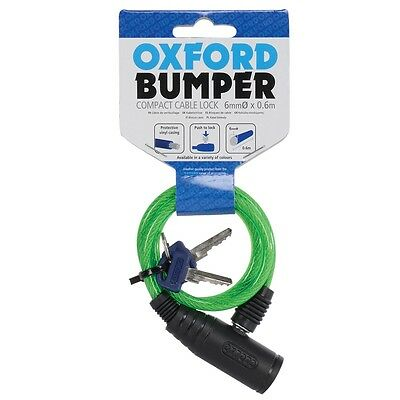 Oxford Bumper Cycle Motorcycle Motorbike Cable Lock Green 600X66mm W/ Keys OF04 • 7.16£
