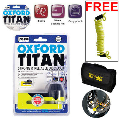 Oxford Motorbike Motorcycle Titan Disc Lock Brake Yellow OF51 +1.5 Free Reminder • 19.79£