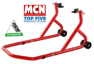 New Universal Motorcycle Sportbike Track Day Garage Pit Rear Paddock Stand Red • 39.99£