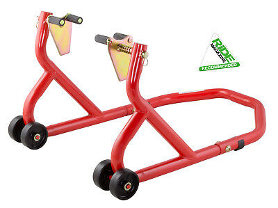 New Universal Motorcycle Sportbike Track Day Garage Pit Front Paddock Stand Red • 29.99£