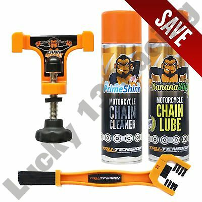 Chain Monkey Lube Cleaner And Brush Motorcycle Tru-Tension Bundle Banana Slip • 44.06£