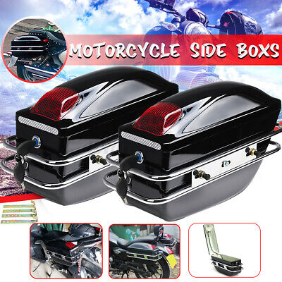 Universal Side Pannier Boxes With Light Motorcycle Bike Chopper Cruiser Tourer  • 55.43£