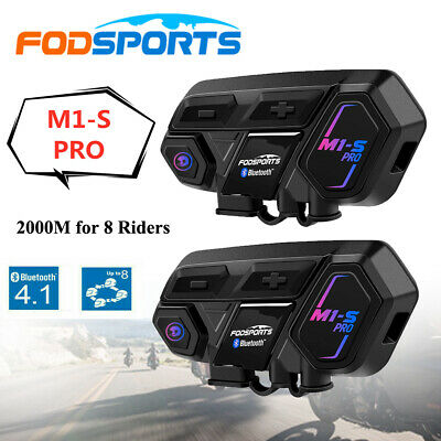 2x M1-S Pro 2000M 8 Rider FODSPORTS Motorcycle Intercom Bluetooth Helmet Headset • 113.99£