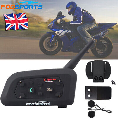V6 Pro 1200M Bluetooth Motorcycle Helmet Intercom Headset 6 Riders BT Hands-free • 38.99£