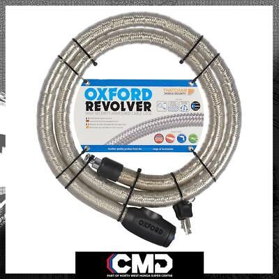 Oxford Motorcycle Security Silver Revolver Cable Lock 1.8m X 25mm OF232 • 53.99£
