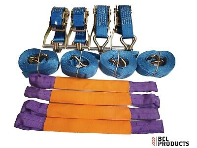 4 X Recovery Wheel Strap Set - 5 Tonne Ratchet Strap With Polyester Wheel Straps • 40£