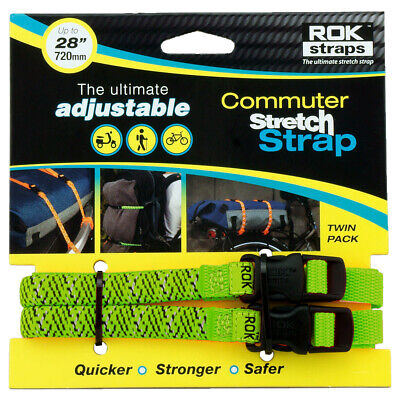 RoK Straps LD 12mm Adjustable Motorcycle Motorbike Green Reflective Strips • 10.49£