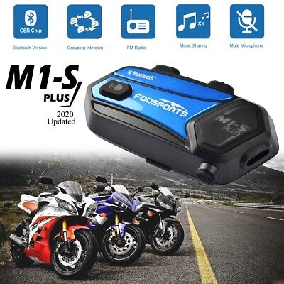 M1-S Plus Motorcycle Intercom Bluetooth Headset 8 Riders Group Communication 2KM • 62.03£