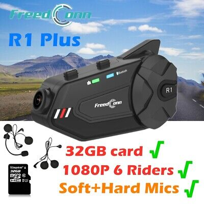 R1 Plus HD Video 6Way Intercom Motorcycle Bluetooth Headset Helmet Communication • 85.99£