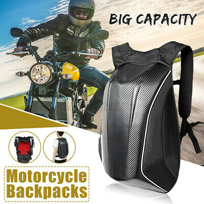 Motorcycle Backpack Carbon Riding Racing Hard Shell Storage Bag Travel Outdoor • 34.99£