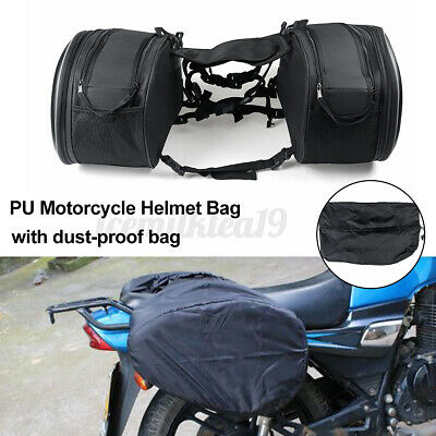 Expandable Throw Over Motorcycle Pannier Side Saddle Bags PU Helmet Bag • 25.09£