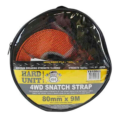 10 TON SNATCH STRAP 4WD OFF ROAD RECOVERY 80mm X 9M INC DRYING BAY TS10000 • 37.70£
