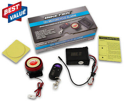 UNIVERSAL MOTORCYCLE SCOOTER 12V SECURITY ALARM 125dB MOTION ACTIVATED REMOTE • 17.99£