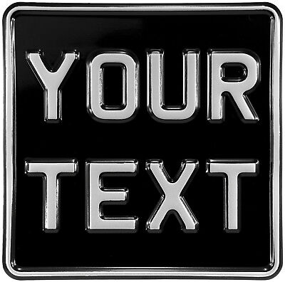 6.5x6.5 Novelty Black And Silver Kids Motorcycle Pressed Number Plate Text Metal • 12.95£