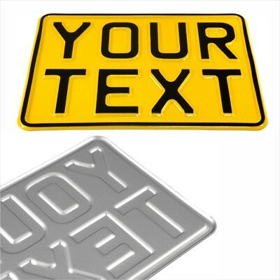 7x5 Yellow Kids Text Age Motorcycle Pressed Number Plate Bike Metal Aluminium 1x • 12.95£