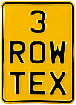 5x7 3 Row Yellow Pressed Number Plate Text Age Kids Motorcycle Metal Aluminum • 12.95£