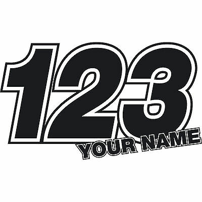 3 X Custom Race Numbers Stickers Name Vinyl Dirt Bike Motocross Trials Decals • 5.49£