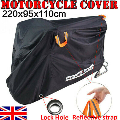 Large Heavy Duty Waterproof Motorcycle Cover Outdoor Motorbike Rain Vented Black • 16.99£