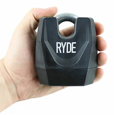 Ryde Heavy Duty Closed Shackle Padlock Motorcycle/scooter Chain Lock Security • 11.49£