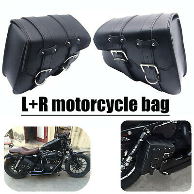 Motorcycle Saddle Bags Side Storage L+R For Harley Sportster XL883 XL1200 Black • 21.89£