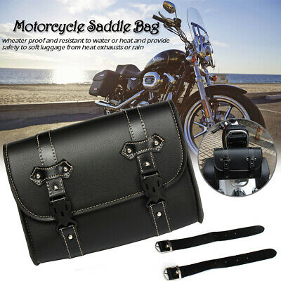 Motorcycle Tool  Bag Motorbike PU Leather Tool Roll Saddle Bag Pannier Sissy Bar • 16.50£