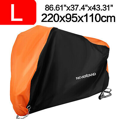 Large Waterproof Motorcycle Moped Bike Cover Rain Dust UV Protector Vented Black • 11.59£