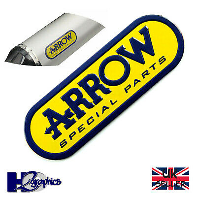 Arrow 3D Motorcycle Exhaust Sticker Heat Resistant Aluminium 95 X 30 Blue Yellow • 3.65£
