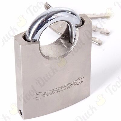 LARGE HIGH QUALITY 60mm SOLID STEEL SILVERLINE CLOSED SHACKLE PADLOCK Gate/Shed • 11.21£