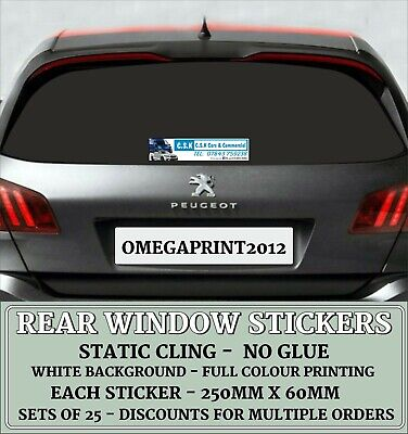 Rear Window Stickers, Personalised, Car Sales, Vinyl Decals, Full Colour X 25 • 18.75£