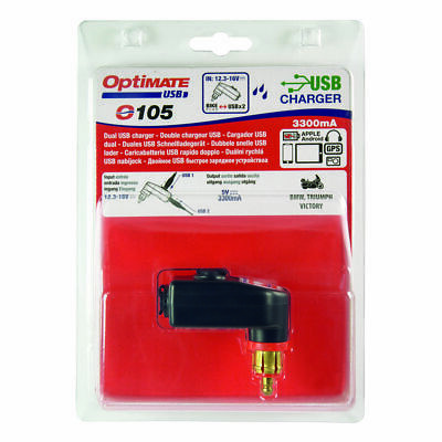 Optimate 105 Dual USB Charger Mobile Devices 3300mA DIN Plug BMW Triumph Victory • 24.49£